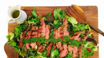 Mixed Herb Salad with Grilled Skirt Steak & Chimichurri Sauce